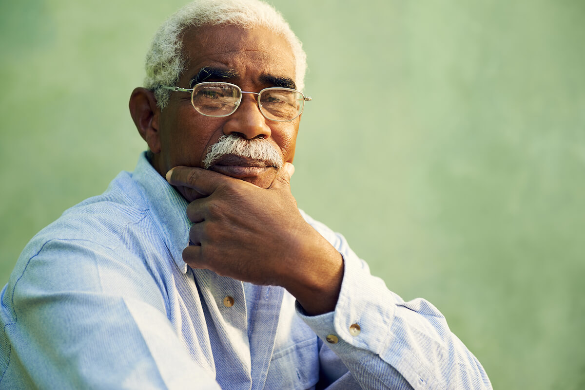 Senior Man Looking Concerned Alzheimers Disease